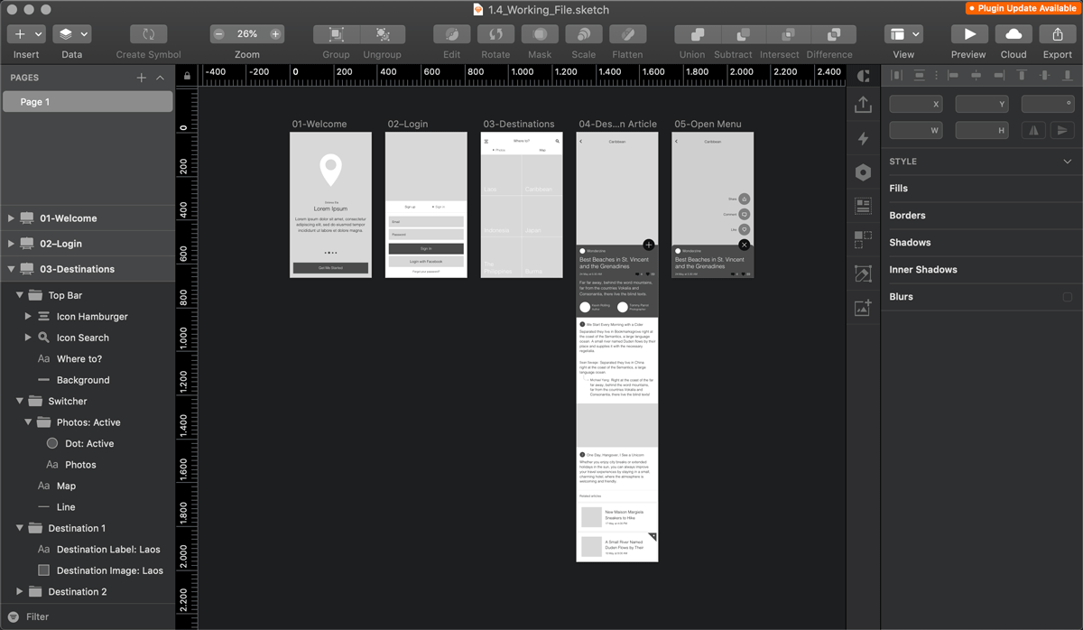 Wireframes of mobile interfaces on Sketch
