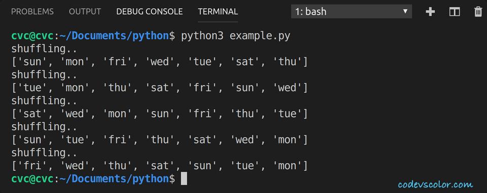 python shuffle list