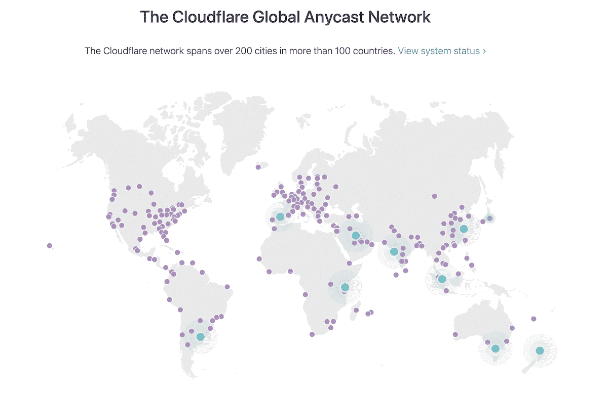 A screenshot from Cloudflare website with a world map showing locations of Cloudflare Network Datacenters