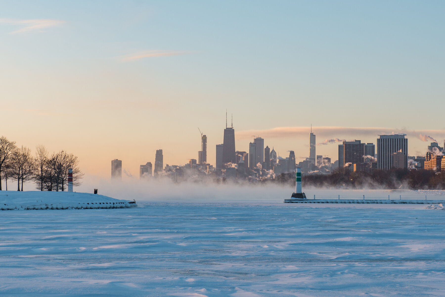 A frozen Lake Michigan and Chicago skyline during the Polar vortex climate event of 2019.