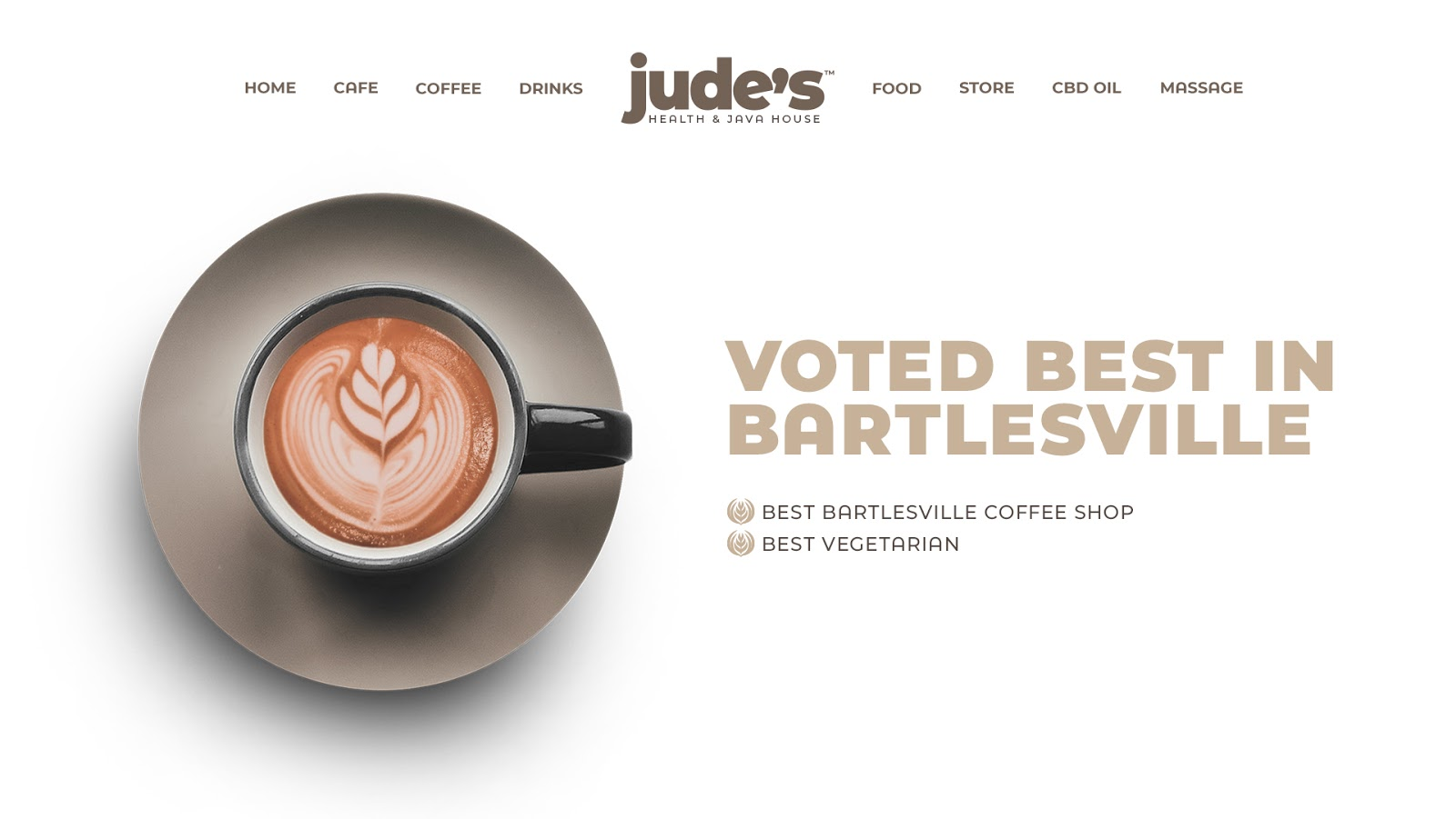 A new design of the Jude's website, featuring their status as best Bartlesville coffee shop
