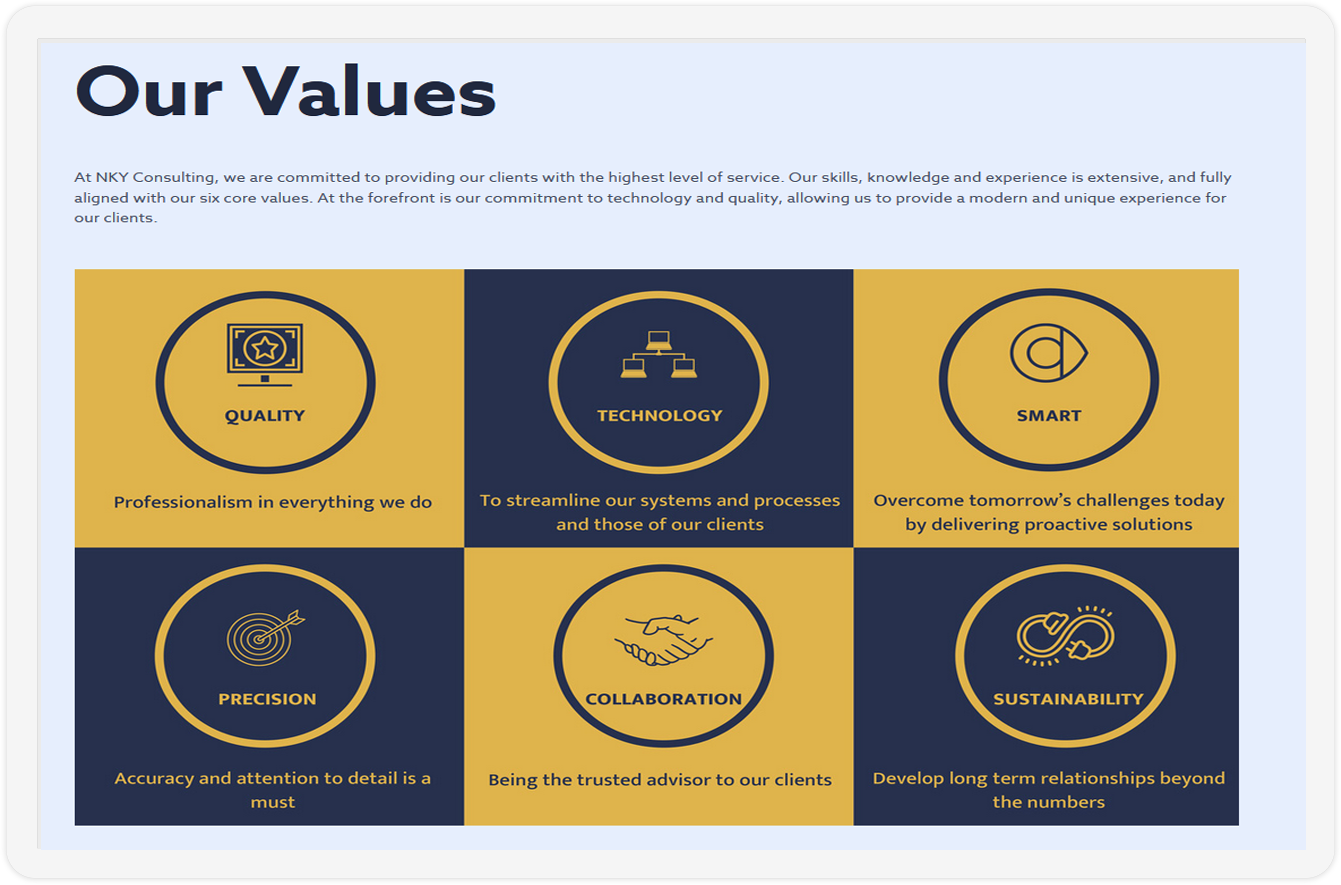The Our Values section of the NKY Consulting website showcased on a screen