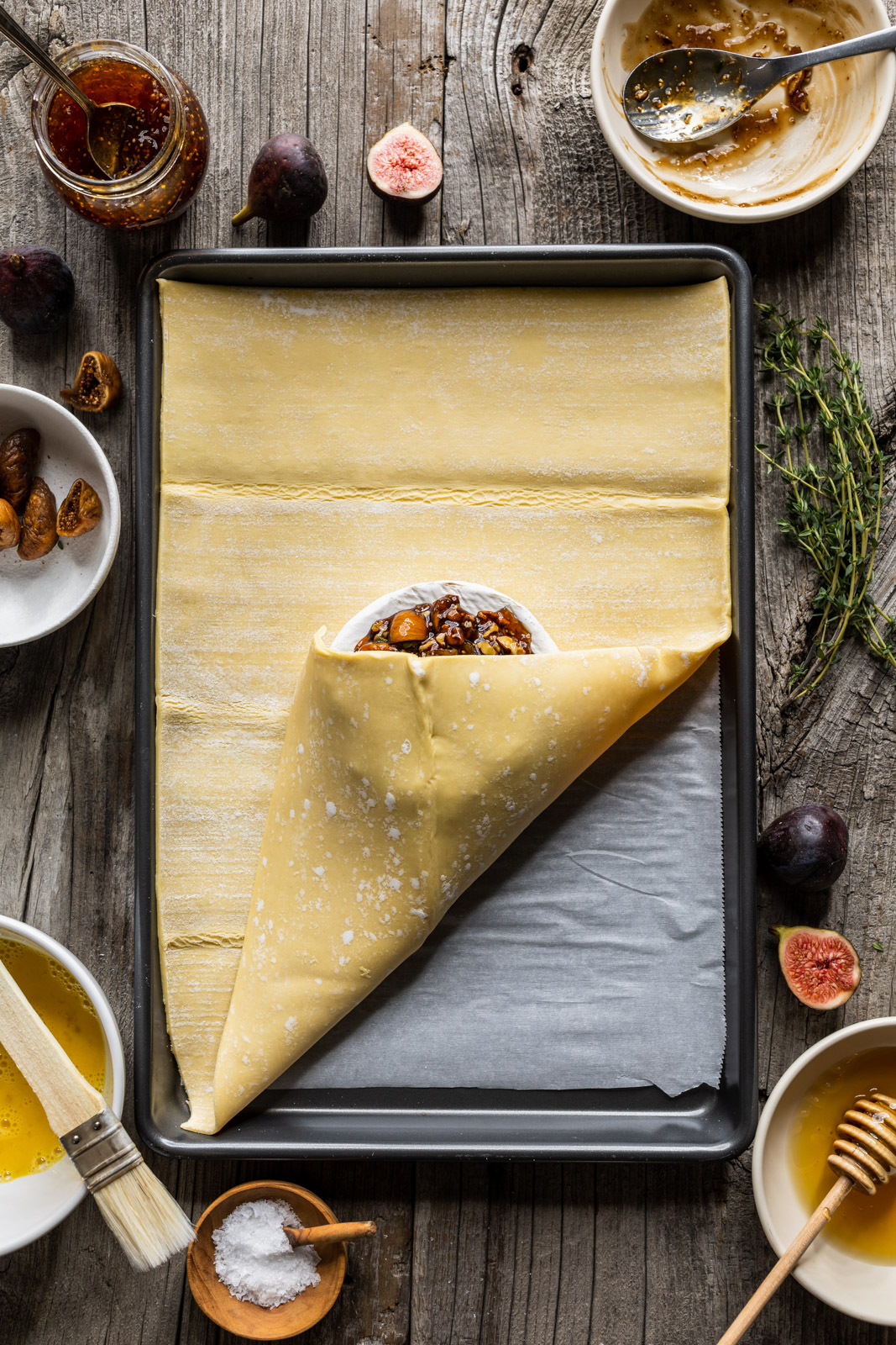 Baked Brie in Puffed Pastry With Honey Bourbon Figs