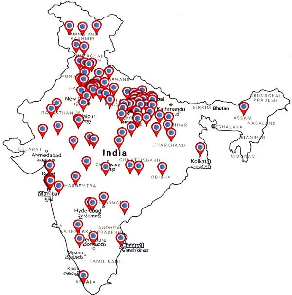 clients in various location of india, map image
