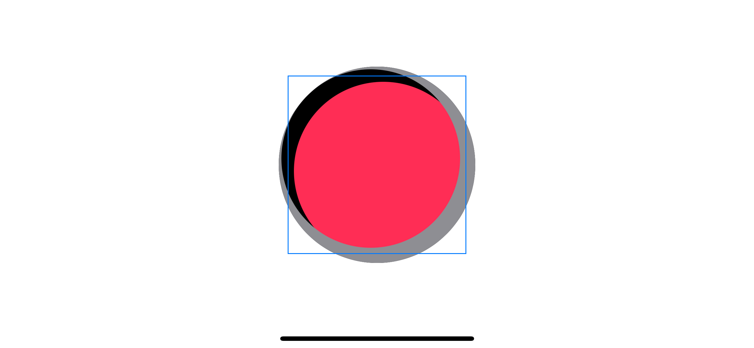 Shadow is clipped by the larger circle, which yields the same result as before.