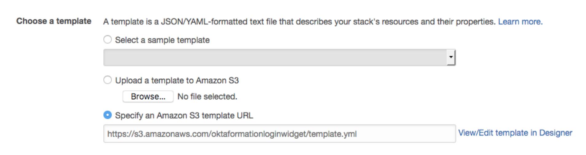 CloudFormation choose template