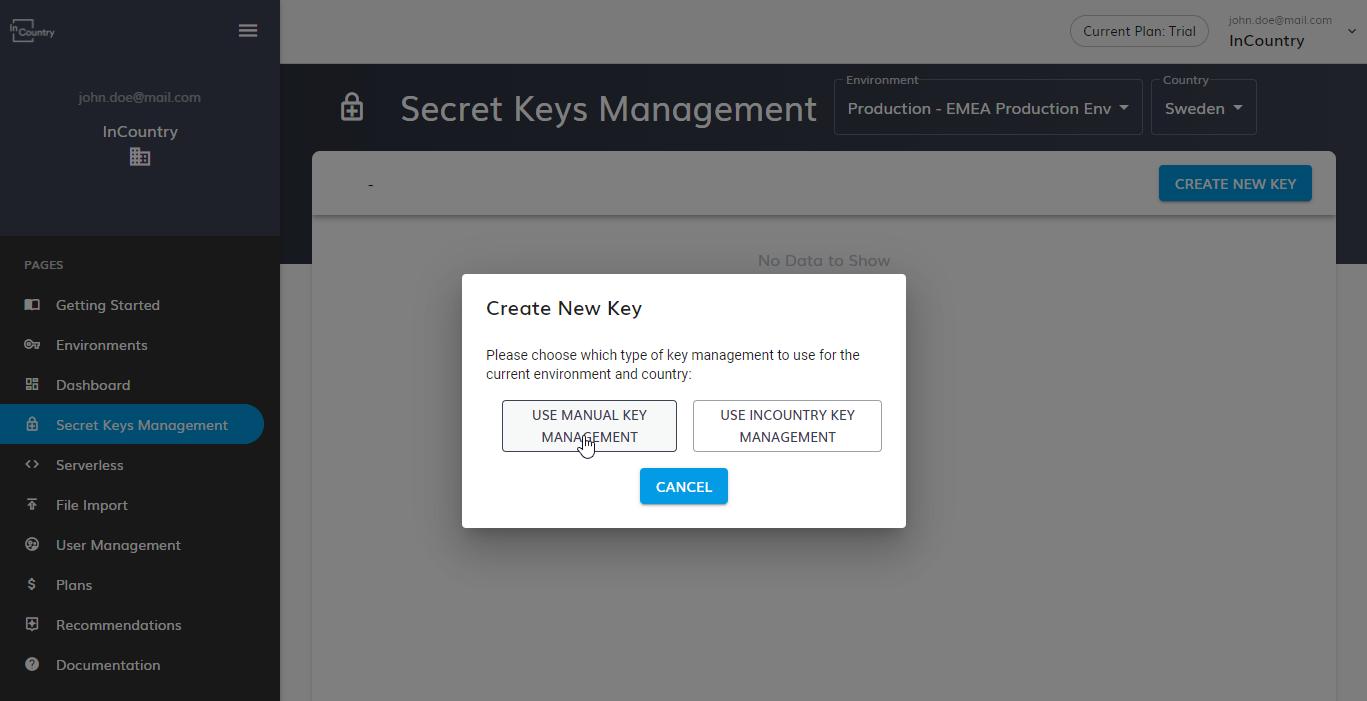 Use Manual Key Management
