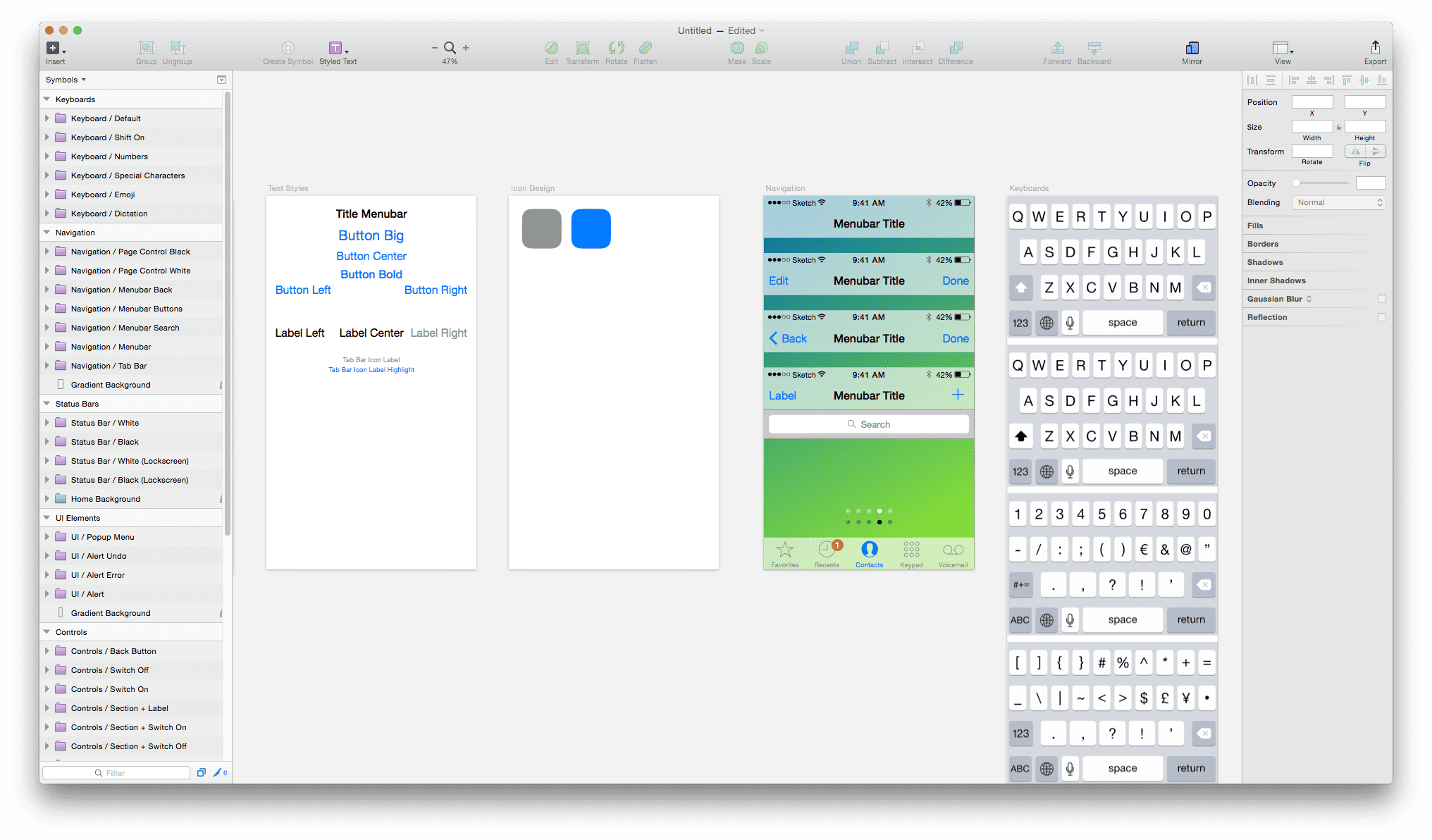 Sketch 3 - iOS UI Design - Symbols Page