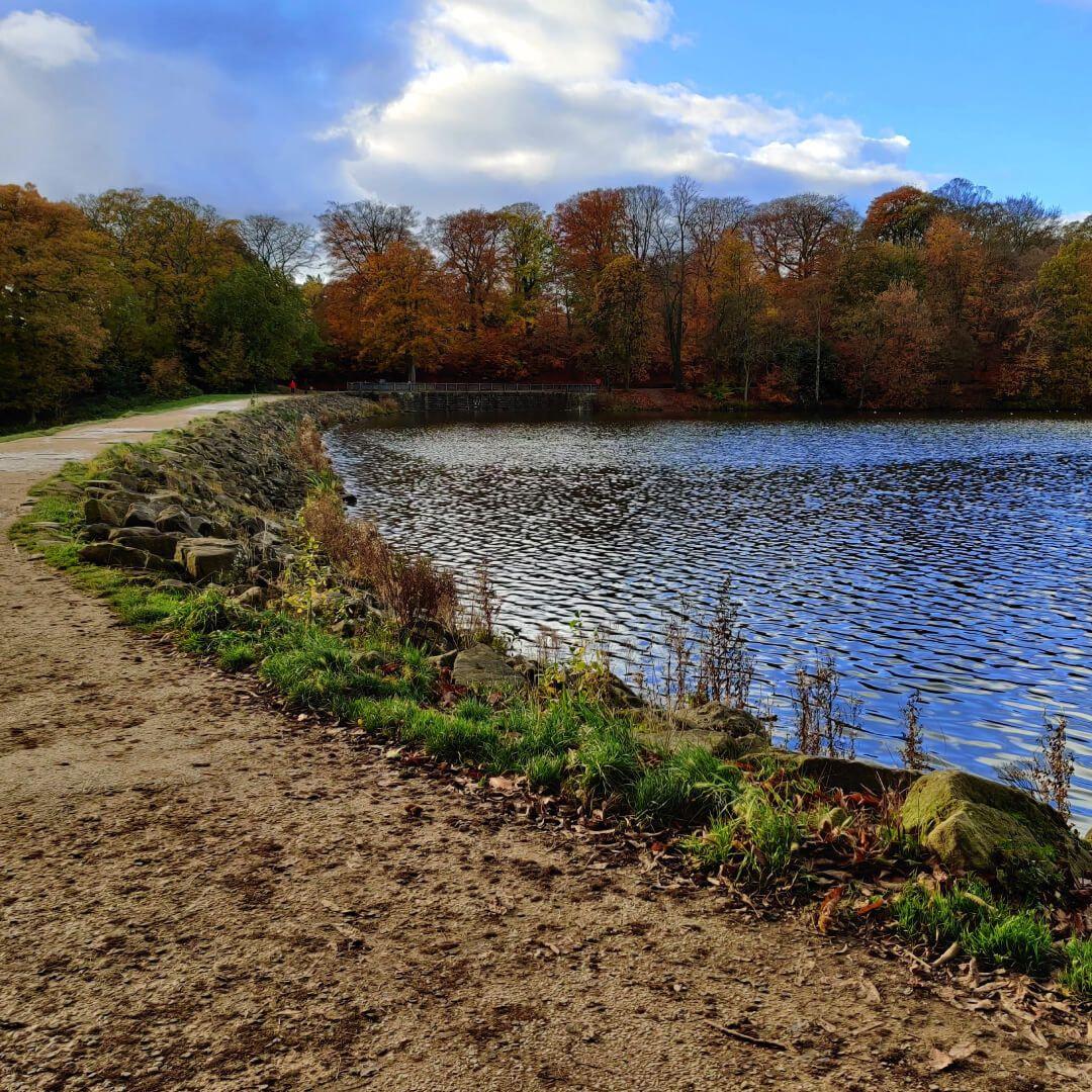Path on dam Roundhay Park