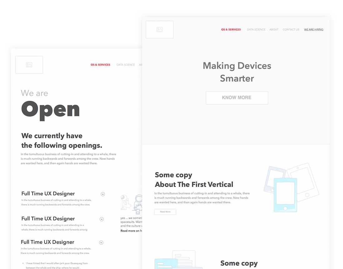 Wireframes for the landing page and the careers page