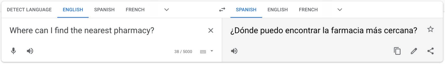 A English to Spanish Google translation of 'Where can I find the nearest pharmacy?' to '¿Dónde puedo encontrar la farmacia más cercana?'