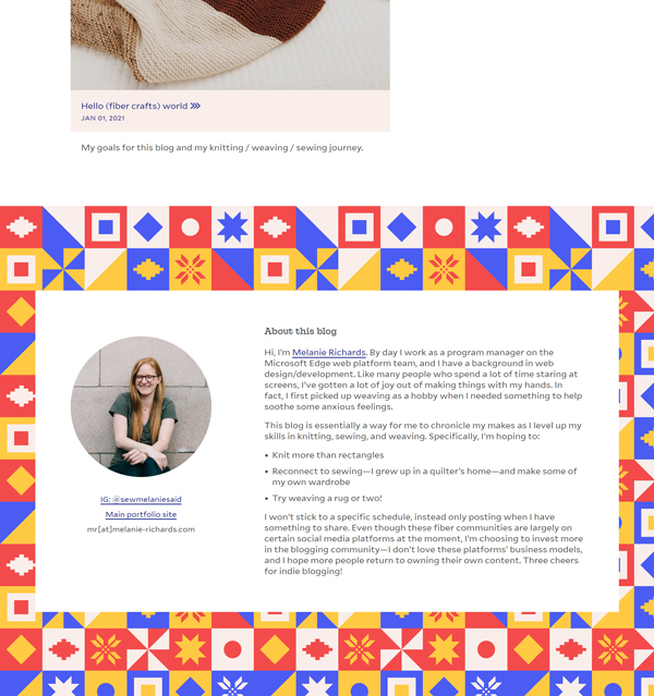 A footer with a personal bio and very bright, geometric pattern of vector quilt-block shapes done up in red, yellow, and blue.