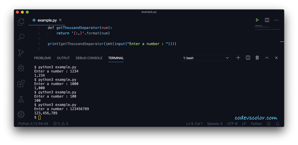 Python comma thousand separator