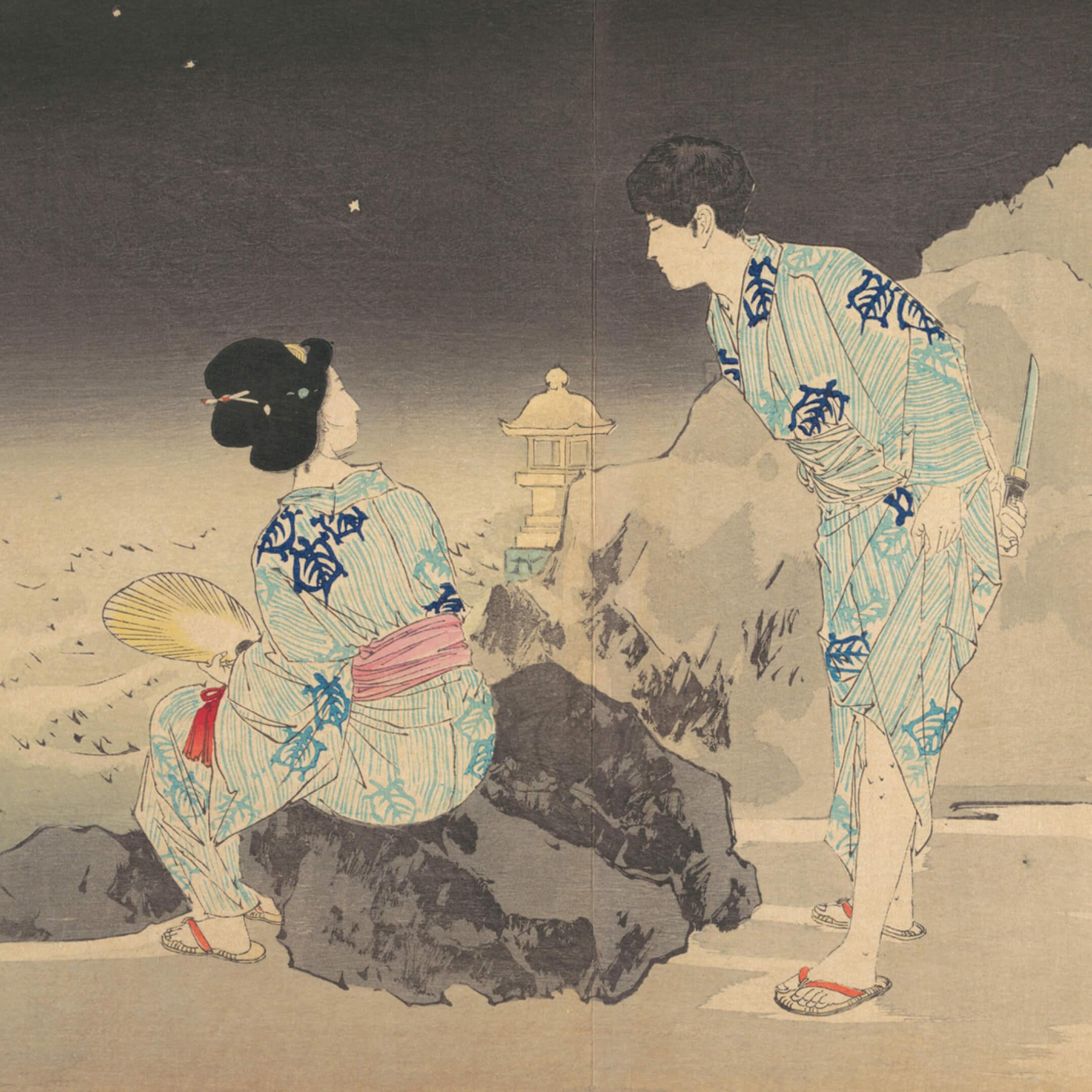 Гравюра «Наблюдая засветлячками влетнюю ночь», Мисима Сёсо (1856–1928). Источник: Метрополитен-музей, Нью-Йорк