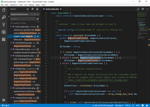 Screenshot of Microsoft VS Code
