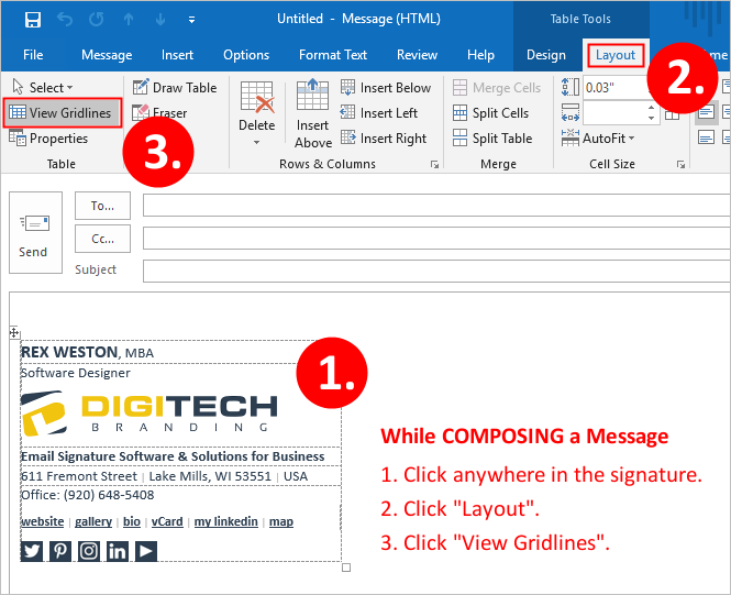 Email Signature - Outlook Displaying Gridlines