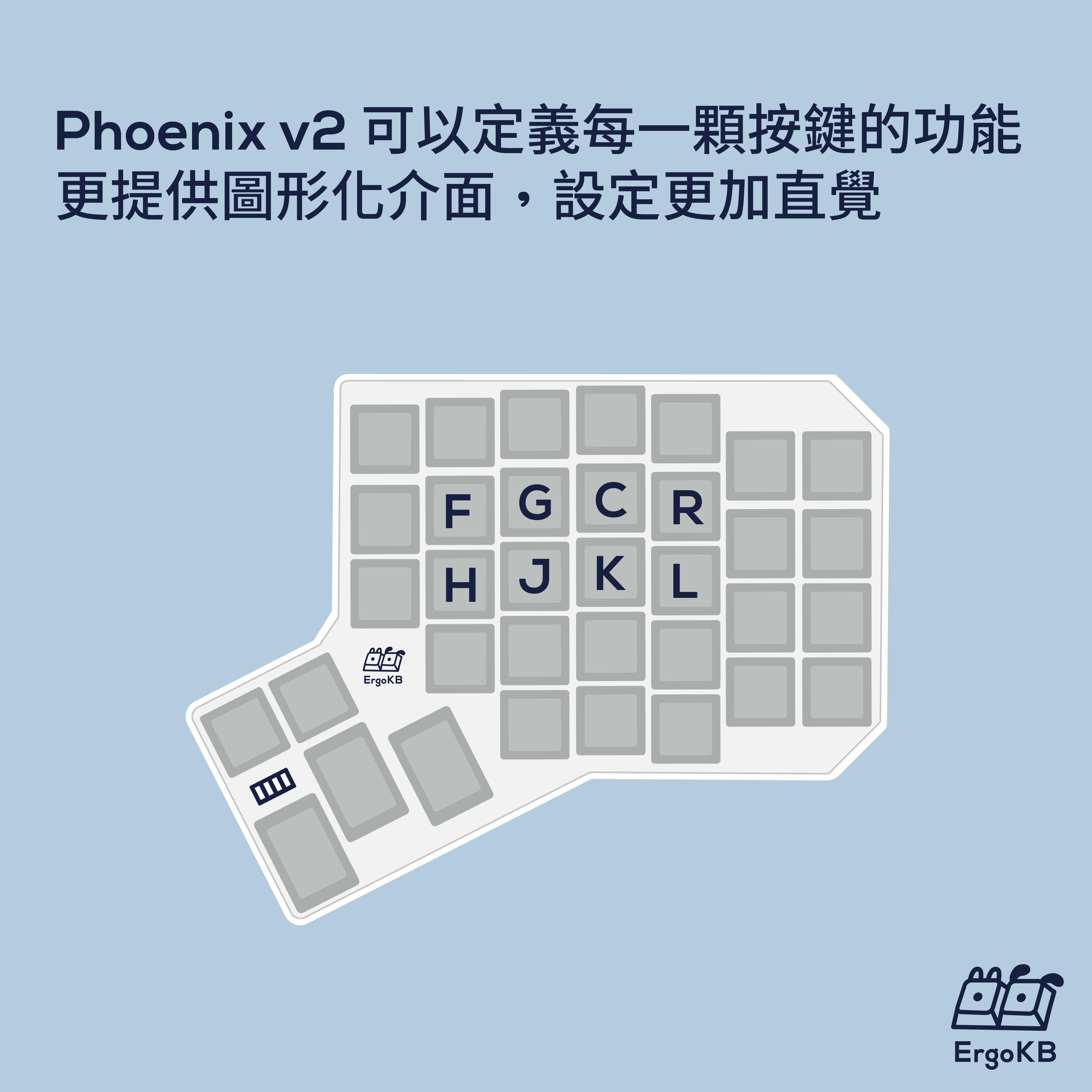 能夠自己定義每一顆按鍵功能,Phoenix 同樣能夠自己定義每一顆按鍵的功能,更提供圖形化介面,設定更加直覺