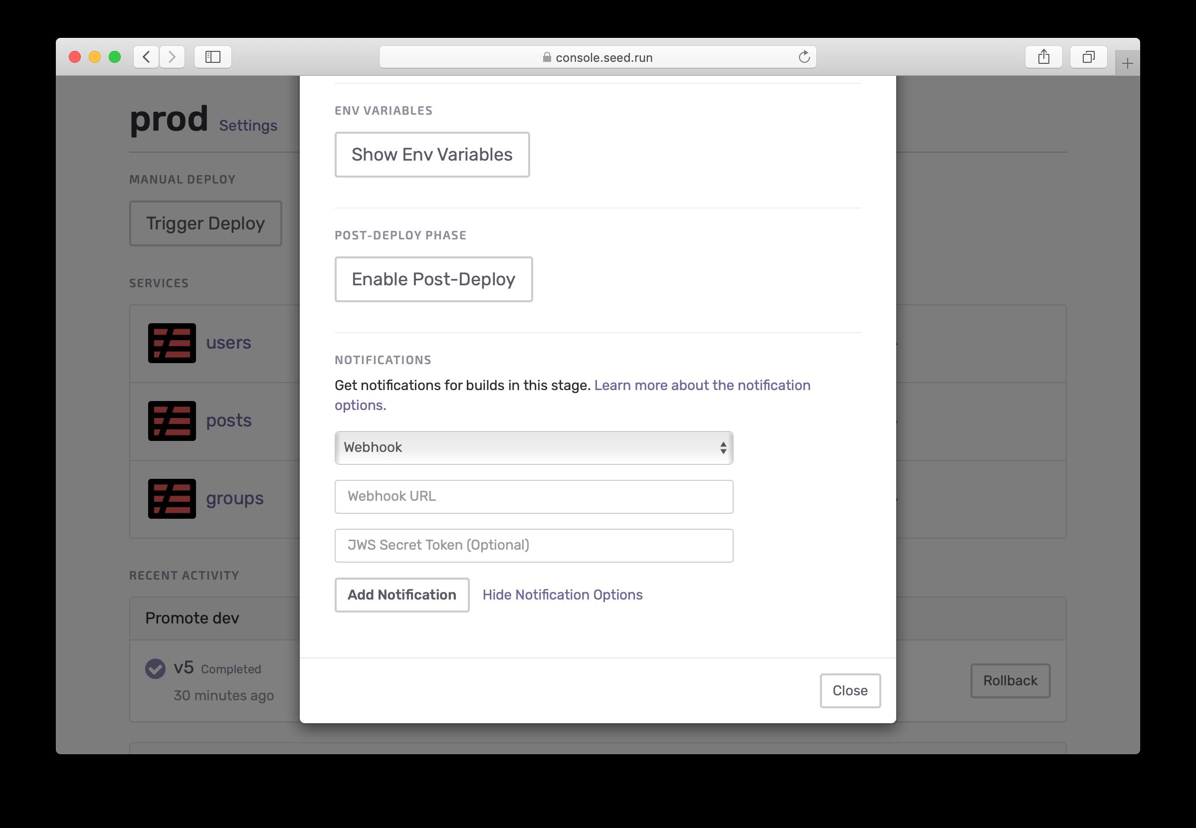 Add webhook notification