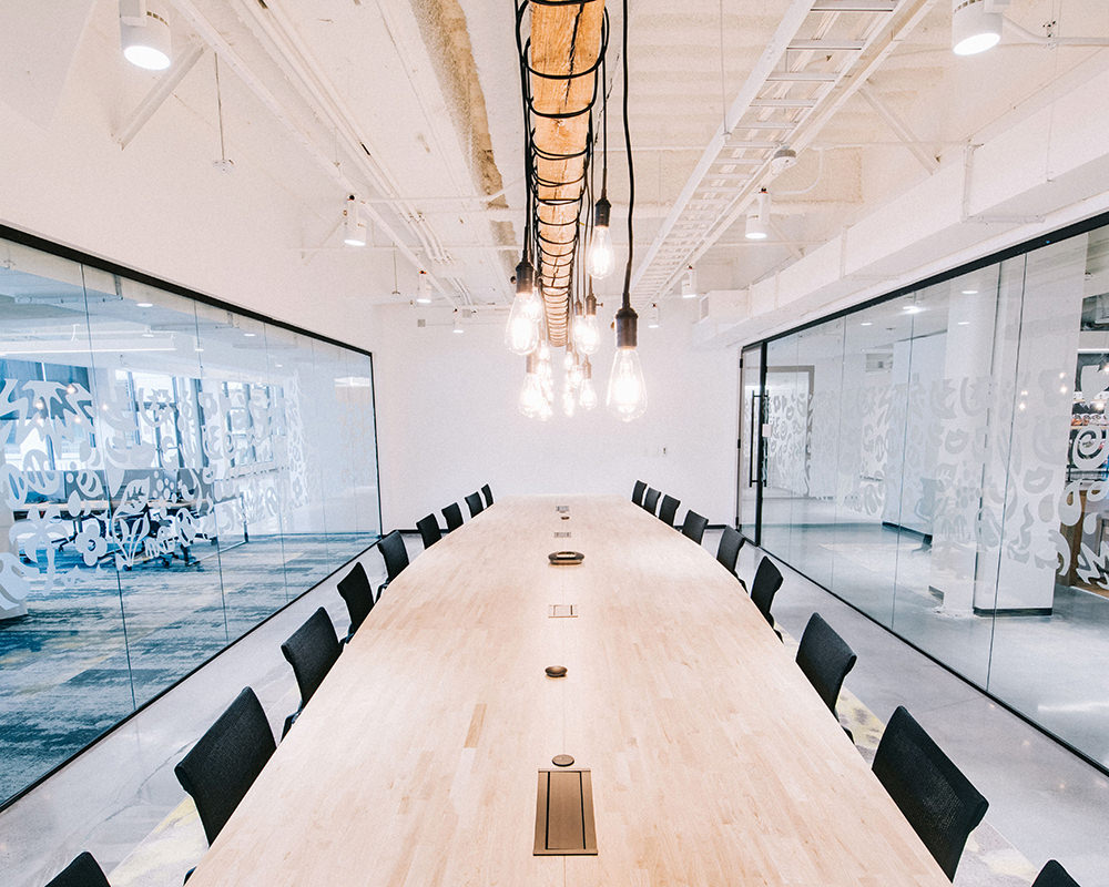 Another Long Office Room with 2 Opposite Glass Sides