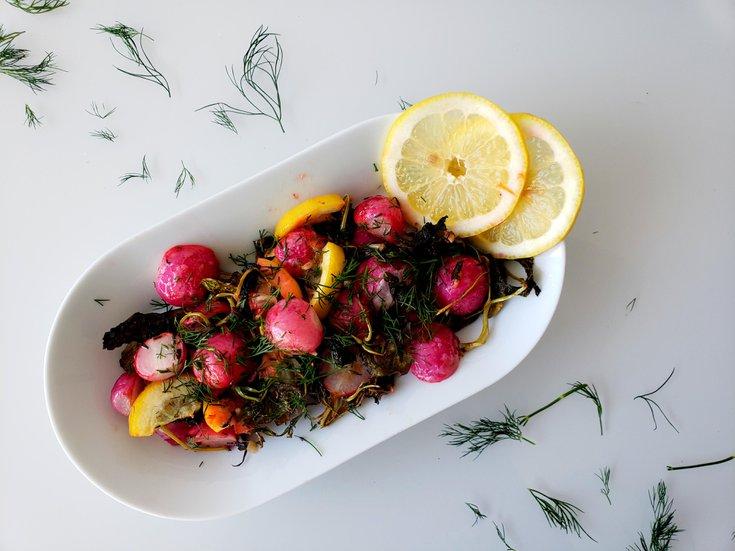 Side dish of roasted radishes