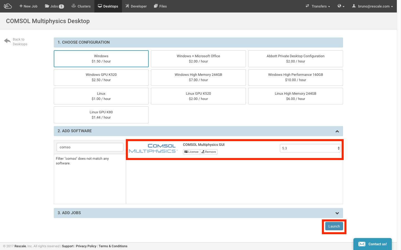 COMSOL Rescale Desktop Configuration
