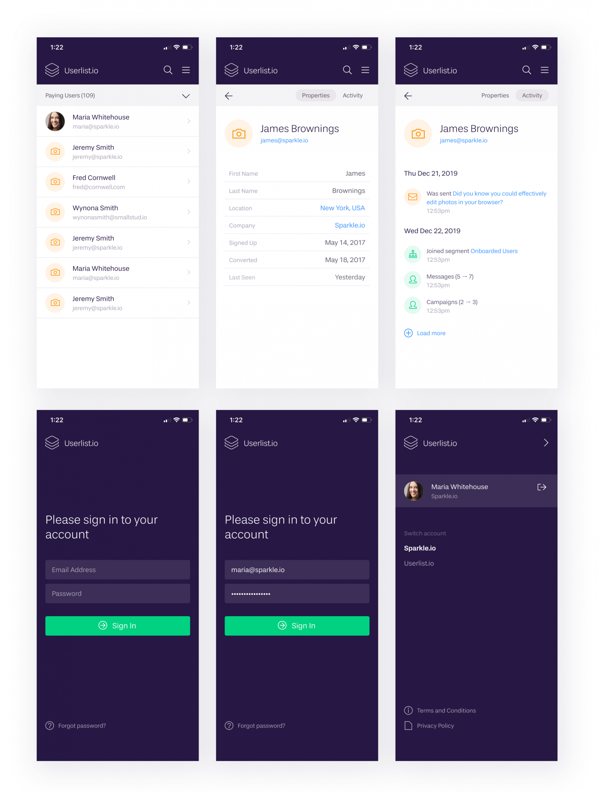 Userlist Mobile App Preview