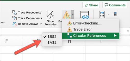 An Excel workbook open on a Mac computer. The error-checking icon has been selected from the toolbar, and the circular references option highlighted in the dropdown menu. A red arrow points to the first circular reference shown by the error-checking function.