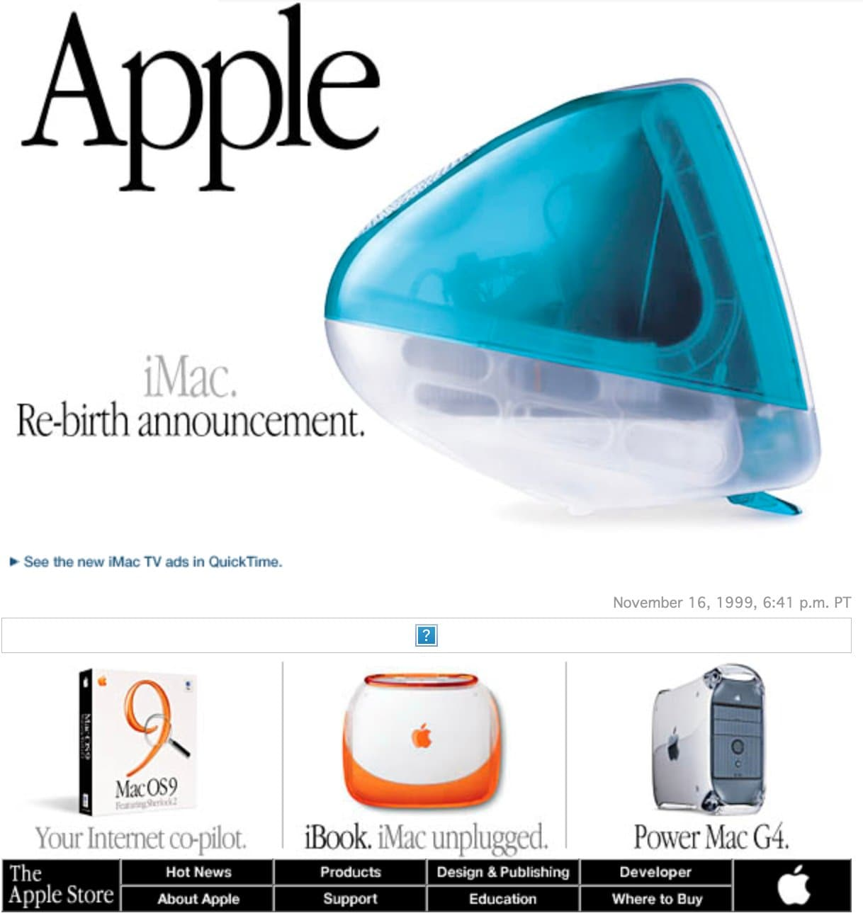 Image from Apple Web site in 1999 showing graphic elements as text