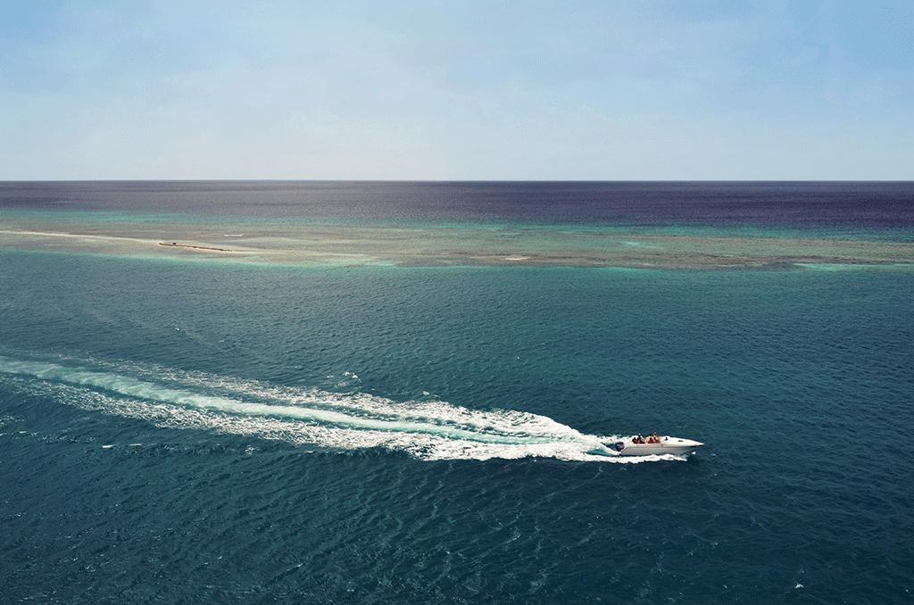 Motorboat sailing