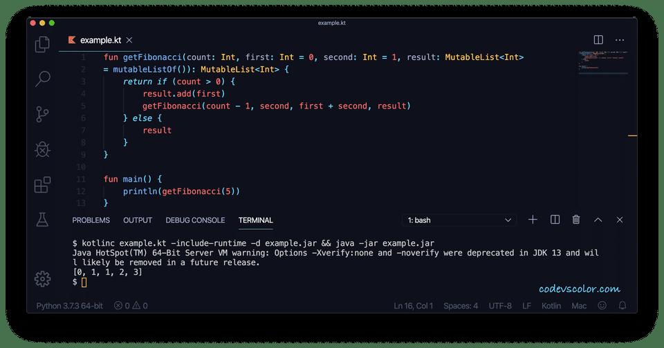 Kotlin print Fibonacci recursive