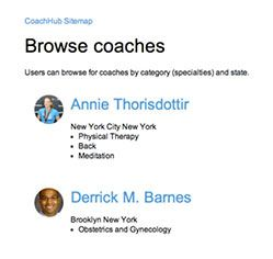 site map for browsing coaches