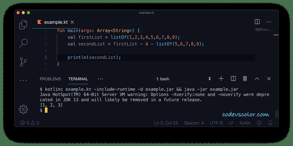 Kotlin minus operator example