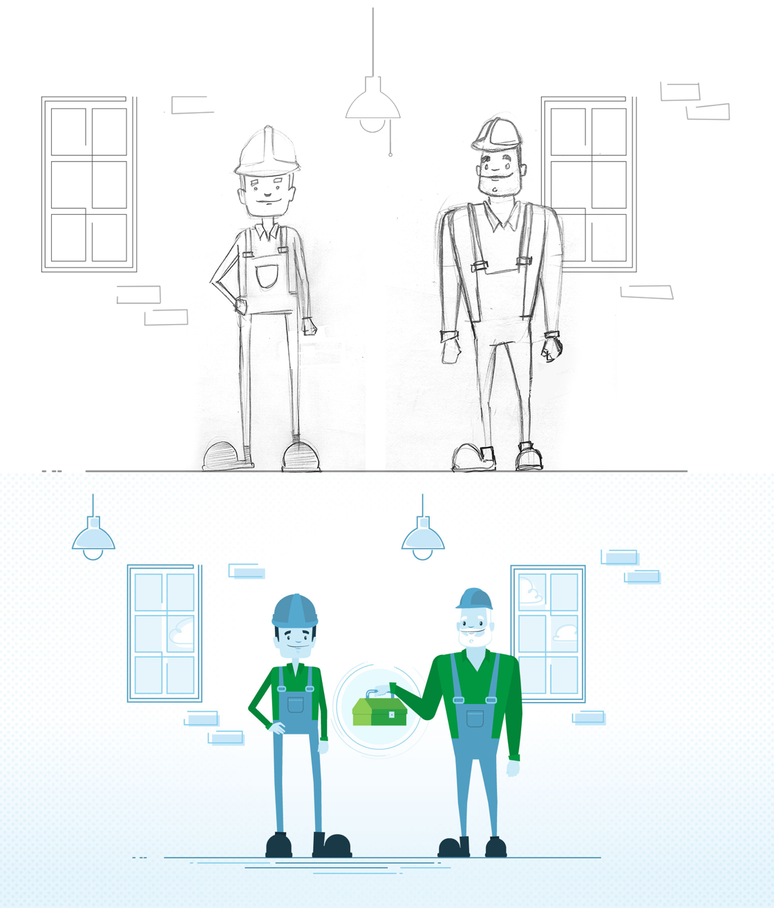 Sketch and illustration from the motion design video for EnviroCompétences