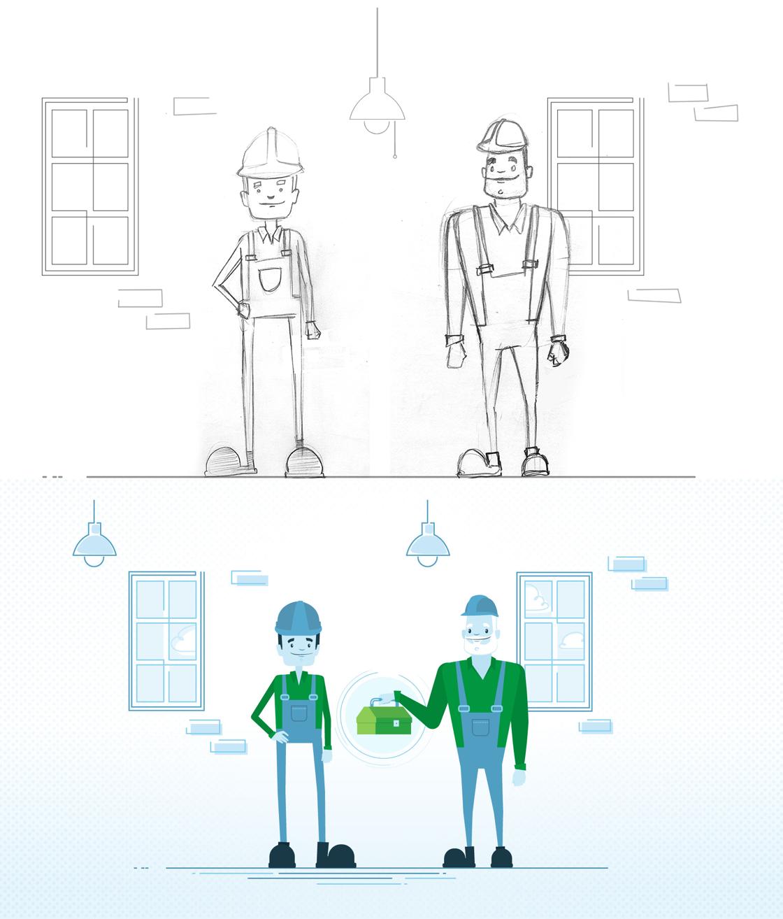 Croquis et illustration de la maison utilisée dans les vidéos