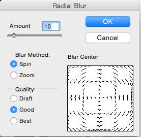 Photoshop Radial Blur Settings - Amount 10, Blur Method Spin