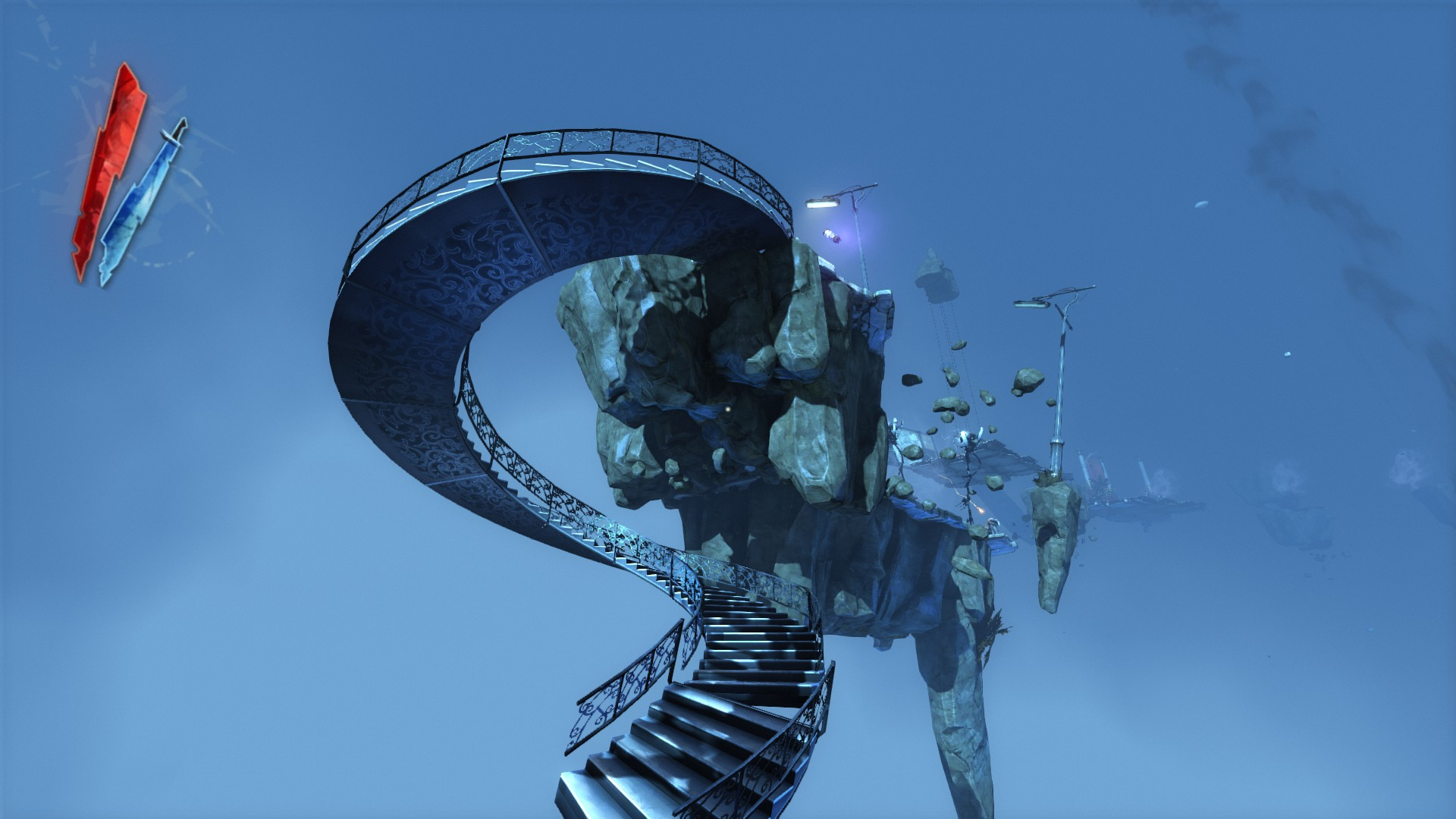 A floating spiral staircase.