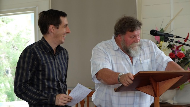 Rev. Saunders being interviewed by Rev. Wal Brown (Bundaberg Presbyterian Church)