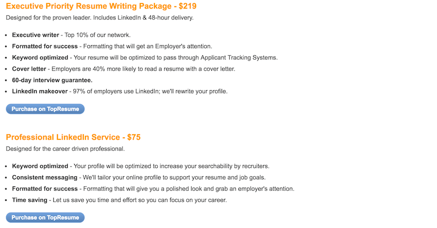 Resume2Hire.com packages