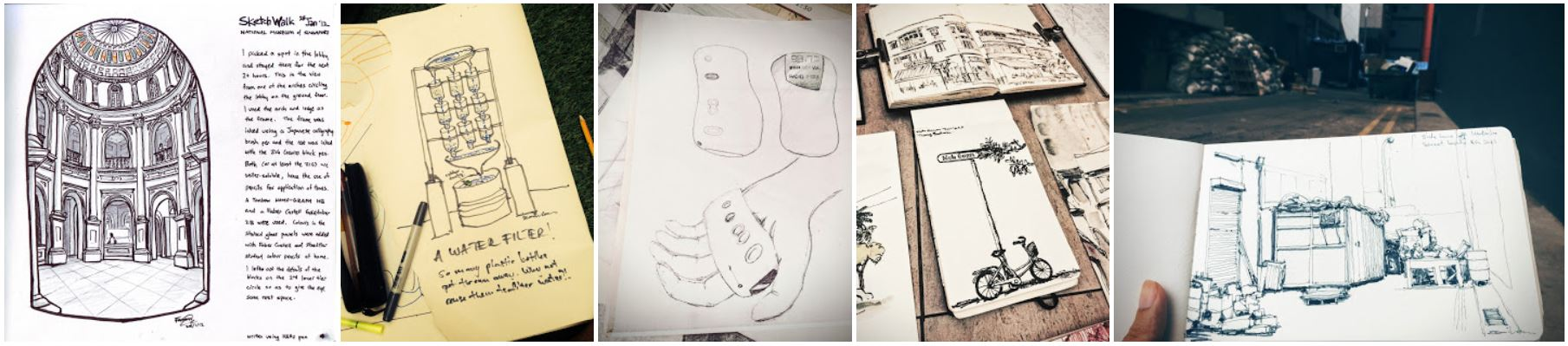 A photo of several illustrated journal pages.