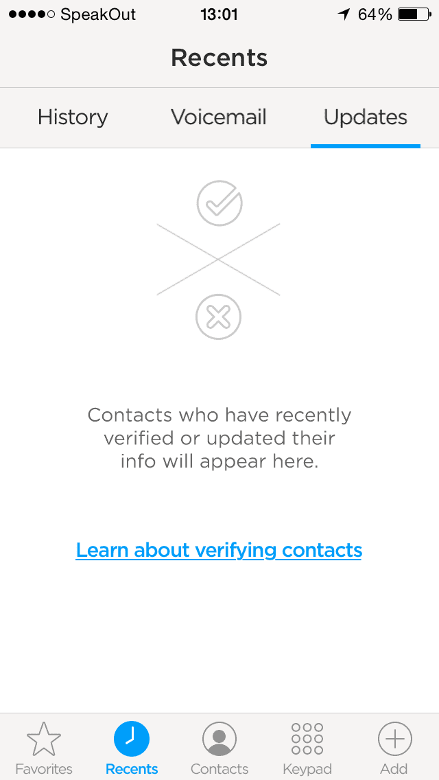 Screenshot of No recently updated or verified contacts