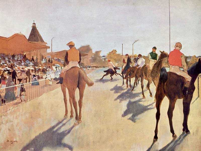 This Degas, from the late 1860s, shows horses and their jockeys in front of the stands. Note the startled horse in the background.