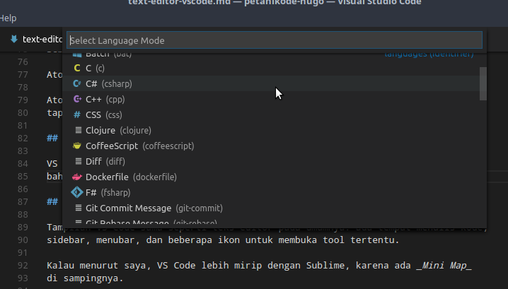 Pemilihan bahasa pemrograman VS Code
