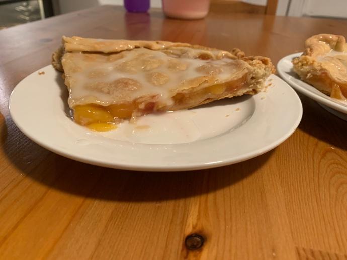 Slice of pie with lemon glaze