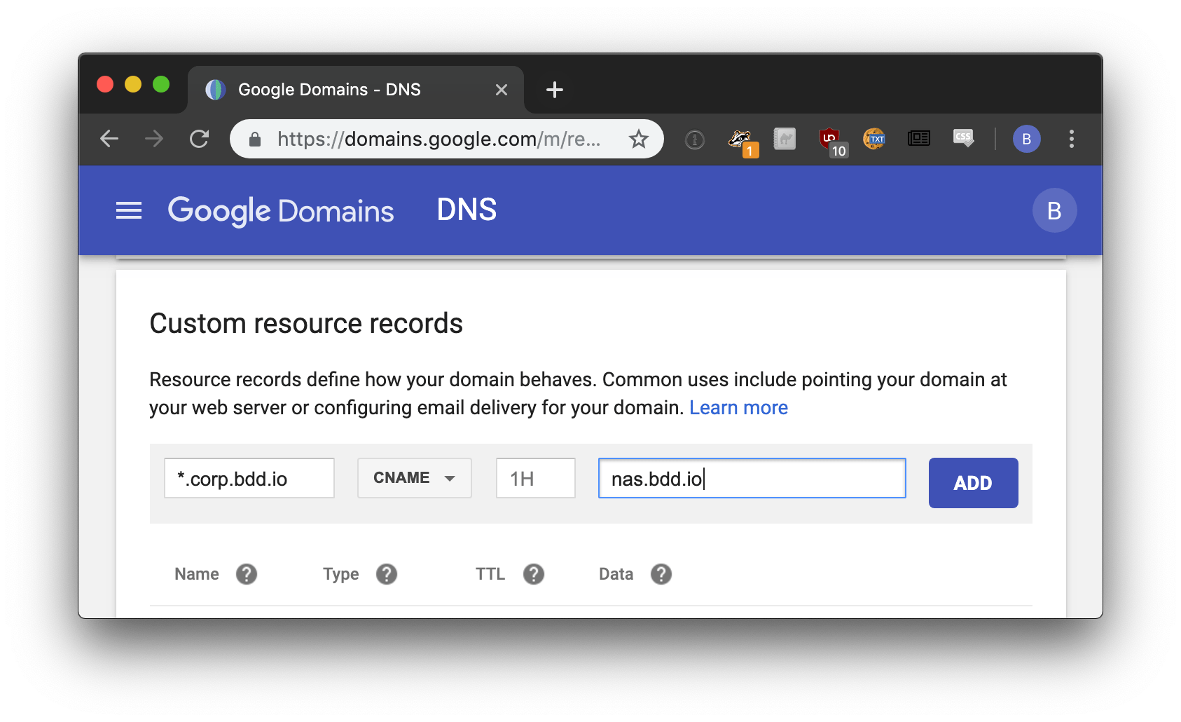 pomerium add a text entry to your dns records