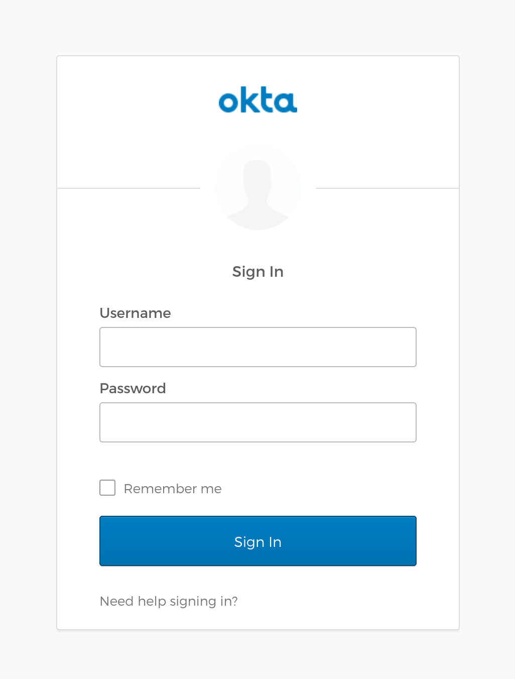 Okta sign-in screen