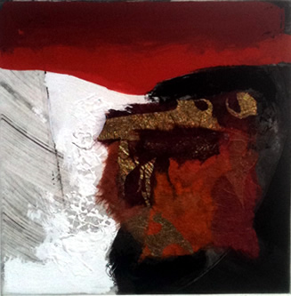 red white black and gold abstract art
