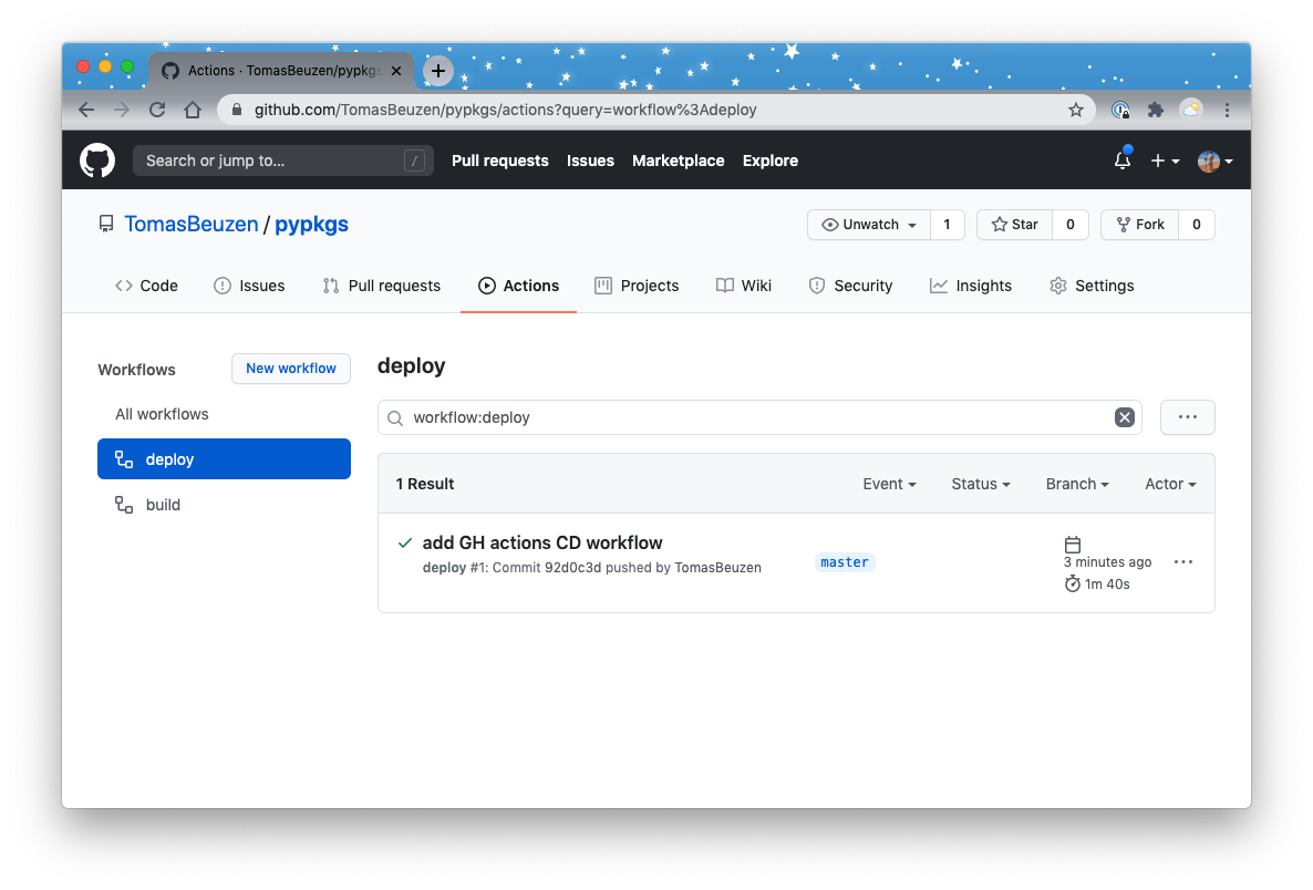 Continuous Deployment (CD) pipeline running on GitHub.