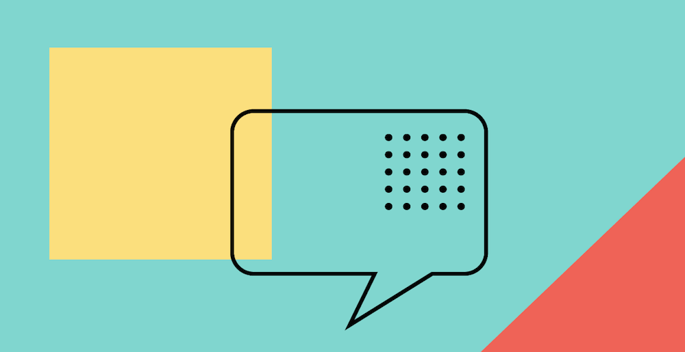 An illustration of a chat box on a blue background