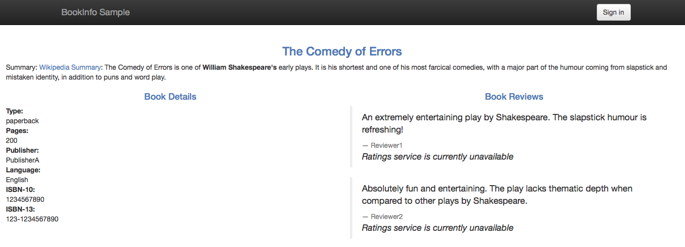 The Ratings service error messages