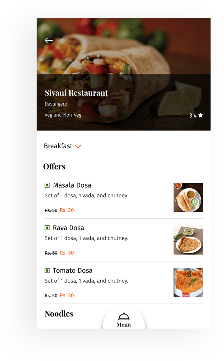 Restaurant management app screen